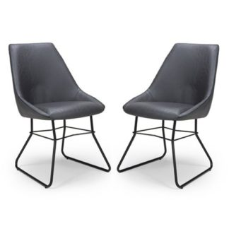 An Image of Cooper Grey Faux Leather Dining Chair In A Pair