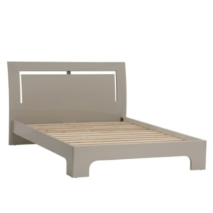 An Image of Houston Contemporary King Size Bed In Grey Gloss