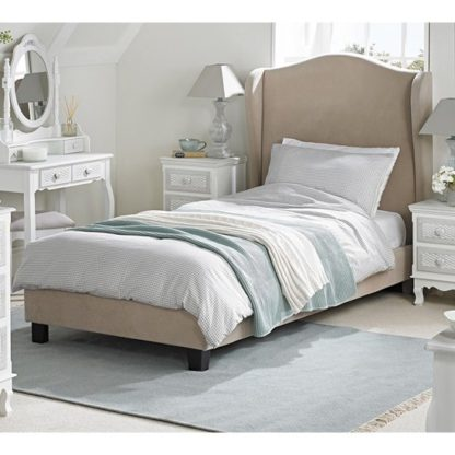 An Image of Chateaux Wing Single Fabric Bed In Beige