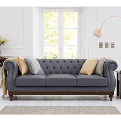 An Image of Ruskin 3 Seater Sofa In Grey Leather With Dark Ash Legs