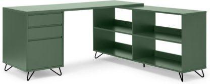 An Image of Elona Corner Desk with Open Sideboard, Fern Green & Black