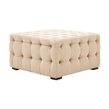 An Image of Poerava Linen Button Tufted Footstool In Beige