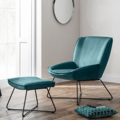 An Image of Mila Velvet Bedroom Chair With Stool In Teal