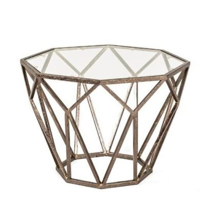 An Image of Nicole Glass Side Table Octagonal With Antique Bronze Frame