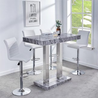 An Image of Melange Gloss Marble Effect Bar Table And 4 Ripple White Stools