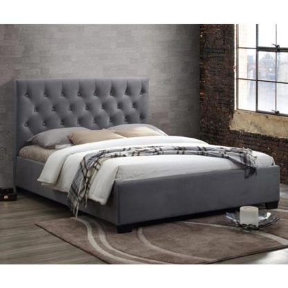 An Image of Cologne Fabric King Size Bed In Grey