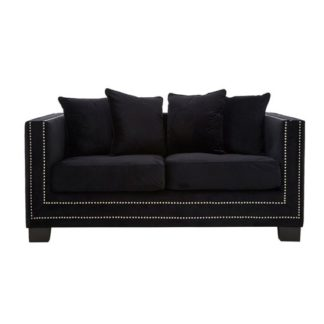 An Image of Pipirima 2 Seater Velvet Sofa In Black