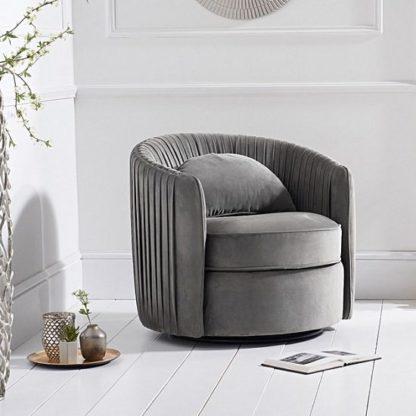 An Image of Medan Modern Swivel Sofa Chair In Grey Velvet