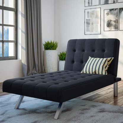 An Image of Emily Faux Leather Chaise Single Sofa Bed In Navy Linen Blue