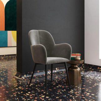 An Image of Fitz Velvet Bedroom Chair In Grey