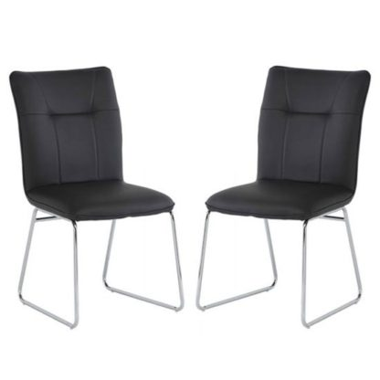 An Image of Albany Dark Grey PU Leather Dining Chair In A Pair