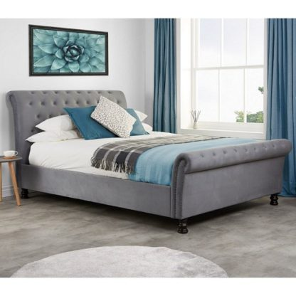 An Image of Andriana Fabric King Size Bed In Grey Velvet With Wooden Feet