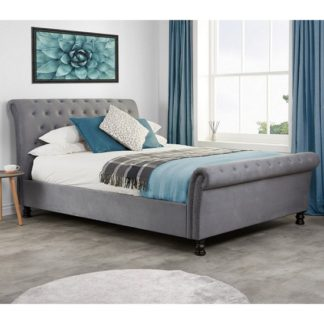 An Image of Andriana Fabric Double Bed In Grey Velvet With Wooden Feet
