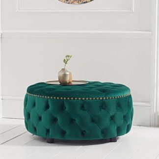 An Image of Aniara Velvet Round Footstool In Green