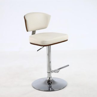 An Image of Aviator Bar Stool In Cream Faux Leather With Chrome Base