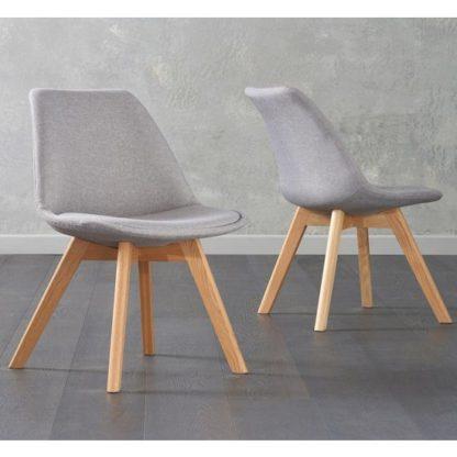 An Image of Brachium Light Grey Fabric Dining Chairs In Pair