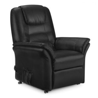 An Image of Brandon Modern Recliner Chair In Black Faux Leather