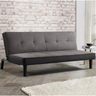 An Image of Calvin Modern Fabric Sofa Bed In Grey Velvet