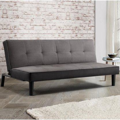 An Image of Calvin Modern Fabric Sofa Bed In Grey Velvet