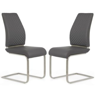 An Image of Adene Dining Chair In Grey Faux Leather In A Pair