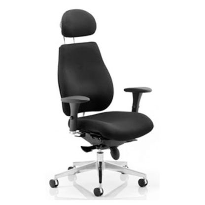 An Image of Chiro Plus Ergo Headrest Office Chair In Black With Arms