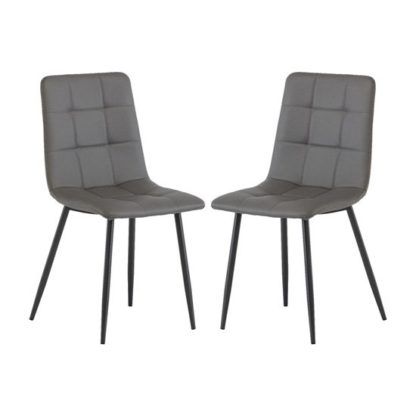 An Image of Virgo Grey Faux Leather Dining Chairs In Pair