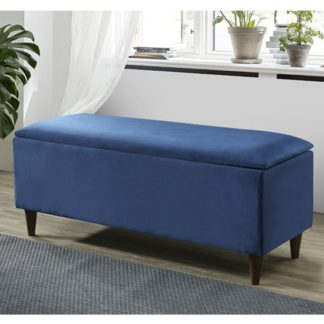 An Image of Emma Velvet Upholstered Storage Ottoman In Blue