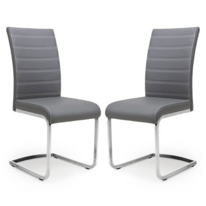 An Image of Callisto Grey Leather Cantilever Dining Chair In A Pair
