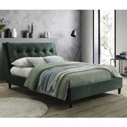 An Image of Megan Velvet Upholstered King Size Bed In Green