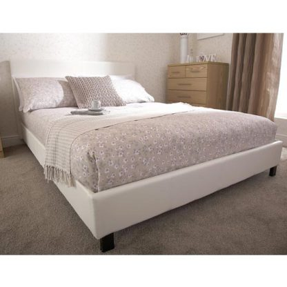 An Image of Alioth Faux Leather King Size Bed In White