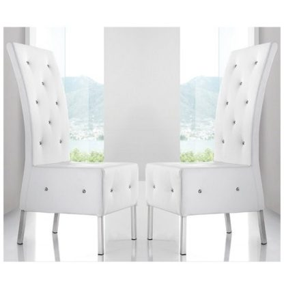 An Image of Asam Dining Chair In White Faux Leather in A Pair