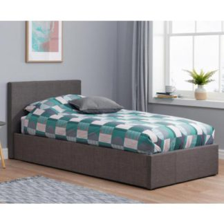 An Image of Berlin Fabric Ottoman Single Bed In Grey