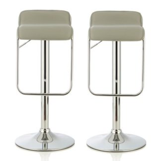 An Image of Mestler Modern Bar Stool In Grey Faux Leather In A Pair