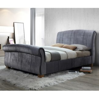 An Image of Waverly Sleigh Double Bed In Grey Velvet With Wooden Legs
