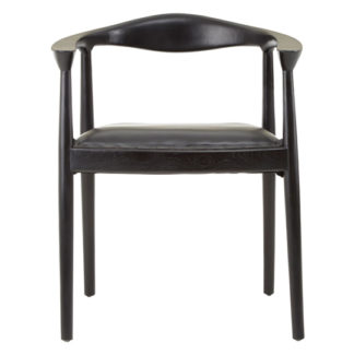 An Image of Formosa Teak Wood Chair With Black Leather