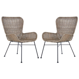 An Image of Hunor Kubu Rattan Curved Design Chair In Pair