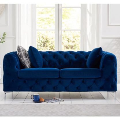 An Image of Berenices Plush Fabric 2 Seater Sofa In Blue
