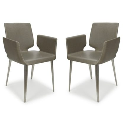 An Image of Skypod Square Leather City Grey Dining Chairs In Pair