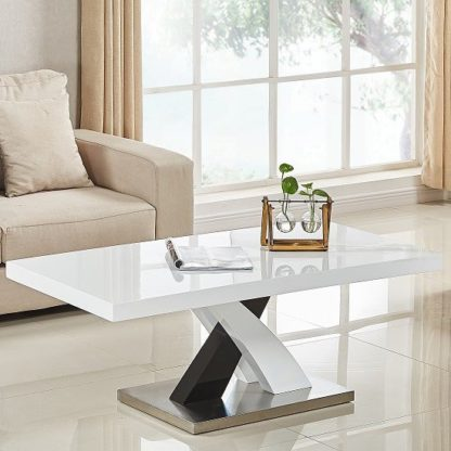 An Image of Axara Coffee Table Rectangular In White And Black High Gloss