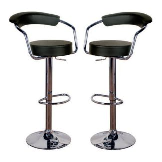 An Image of Saturn Black Leather Bar Stool In Pair