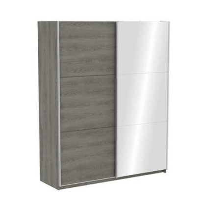 An Image of Selsey Mirrored Sliding Wardrobe In Hudson Oak With 2 Doors