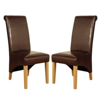 An Image of Rocco Brown PU Leather Dining Dining Chair In Pair