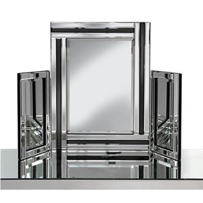 An Image of Elena Dressing Table Mirror In Silver With Black Inserts