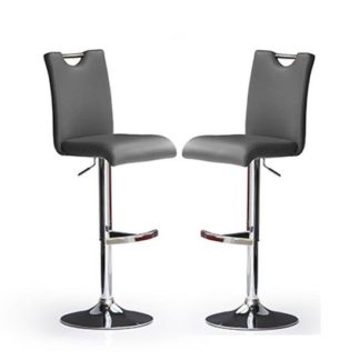 An Image of Bardo Bar Stools In Grey Faux Leather in A Pair