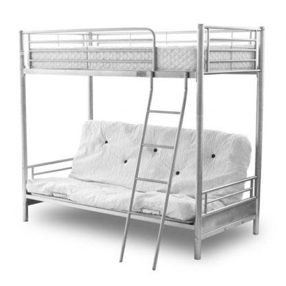 An Image of Alaska Futon Metal Bunk Bed In Silver