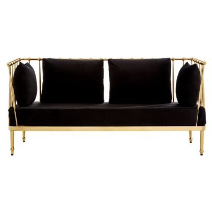An Image of Kurhah 2 Seater Sofa In Black With Gold Finish Tapered Arms
