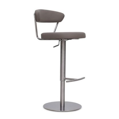 An Image of Astley Bar Stool In Taupe PU With Brushed Stainless Steel Base