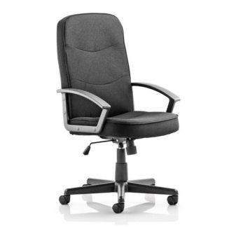 An Image of Janelle Fabric Office Chair In Black With Padded Seat