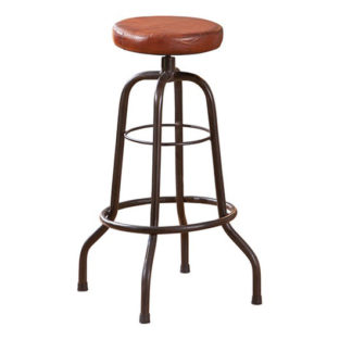 An Image of Longo Brown Leather Bar Stool With Black Metal Base