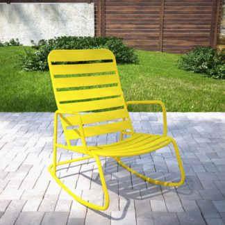 An Image of Novogratz Roberta Rocking Chair In Yellow